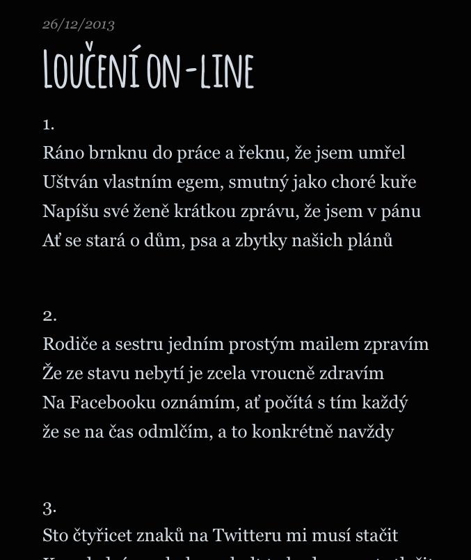 Tenhle písňový text L. P. Ševelpuny obsahuje na ploše osmi slok a jednoho refrénu zhruba 25 nápadů.