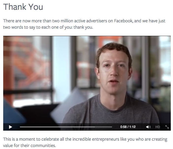 Zakladatel Facebooku Mark Zuckerberg děkuje