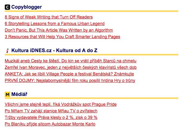 Letmý pohled na několik mých RSS feedů. Copyblogger nemůže chybět.