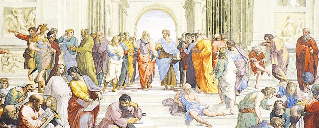 Raffaelova Athénská škola - nejslavnější obraz s filozofy, jaký byl kdy namalován.