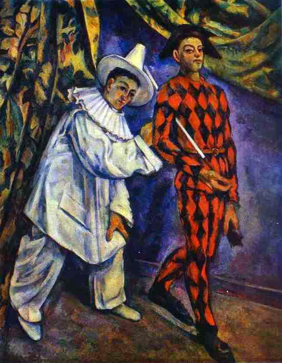 Paul Cézanne: Pierrot a Harlequin. Archetyp šašků s poněkud posmutmělými rysy. Zdroj: https://commons.wikimedia.org/wiki/File:Paul_C%C3%A9zanne-_Pierrot_and_Harlequin.JPG?uselang=cs