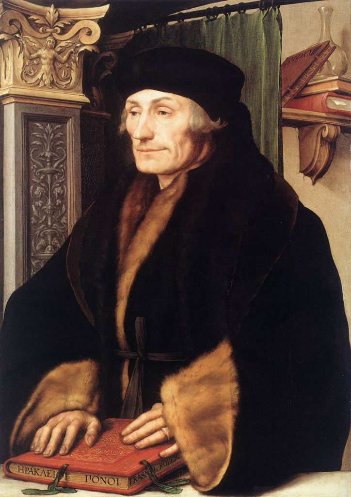 Že omyl, nevědomost či bláznivost mají také svou pozitivní funkci, není myšlenka nijak nová. Na prahu novověku ji rozpracoval například filozof Erasmus Rotterdamský ve své Chvále bláznivosti. Kolik Erasmáků dnes asi tuší, kdo to vlastně byl? By Hans Holbein the Younger (1497/1498–1543) - Web Gallery of Art, Public Domain, https://commons.wikimedia.org/w/index.php?curid=2319