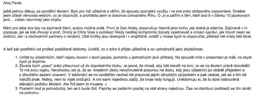Milý e-mail přišel od copywriterky a překladatelky Aleny.