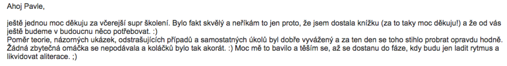 Reference od skvělé copywriterky Kláry ze Zážitků.cz
