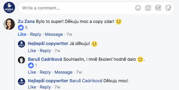 Někteří copywriteři se o své pocity ze školení copywritingu podělili na Facebooku.