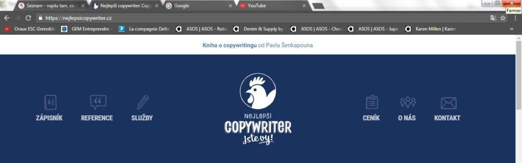 Favicony velkých značek jako YouTube, Seznam a Google jsou už tak zavedené, že je při brouzdání na internetu nejspíš ani nevnímáte. Tak jsme si dovolili mezi ně nenápadně vpravit kartu s faviconou Nejlepšího copywritera, abychom vás vytrhli z letargie.