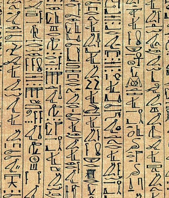 Kus textu z egyptské Knihy mrtvých. Vypadá to působivě, ale zkuste si to napsat na anglické klávesnici.