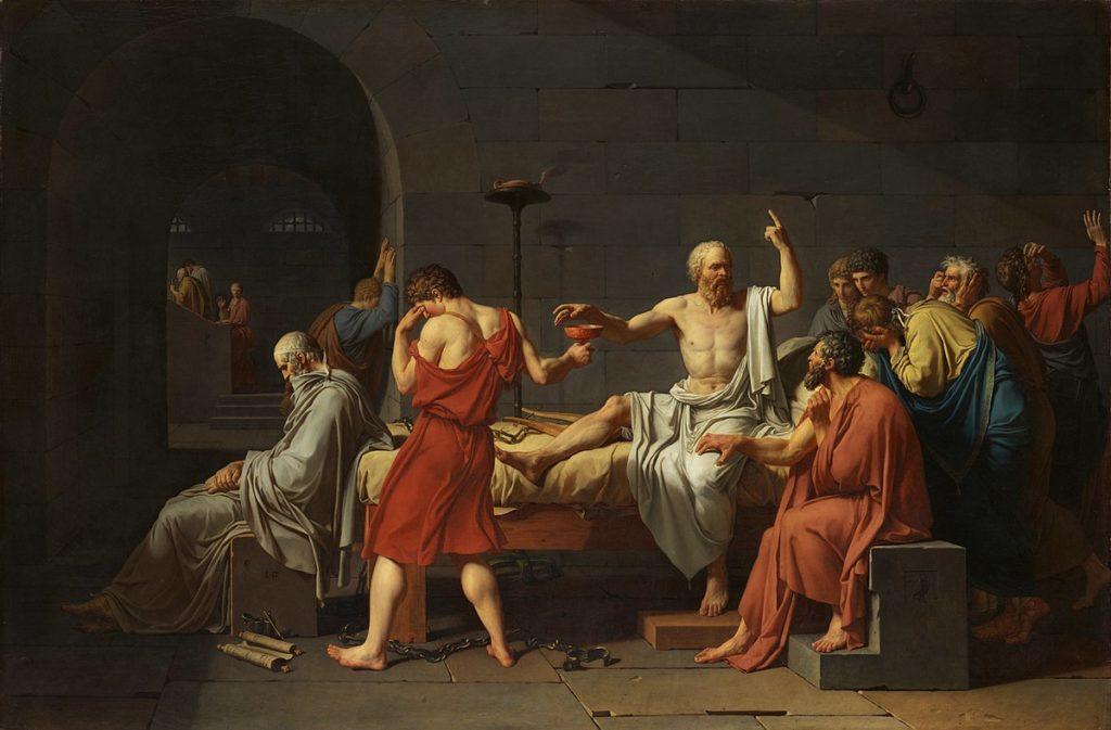 """Takhle si poslední chvíle Sókrata představoval J.-L. David. Vidíte, jak je mudrc namakanej a jak to bere na pohodu? Jeho poslední slova prý zněla """"Ještě jsem dlužen Asklépiovi kohouta"""", což popravdě do dnešní doby nikdo úplně nepochopil. Já myslím, že to byl jeho poslední prank."""