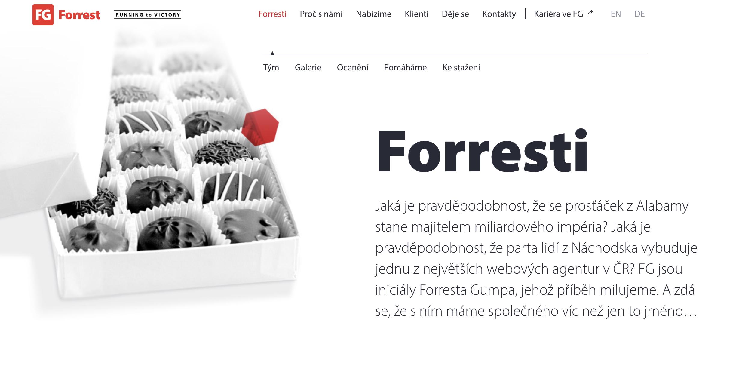 """Na stránce """"O nás"""" webové aagentury FG Forrest jsme se pokusili vést paralelu mezi příběhem firmy a příběhem Forresta Gumpa."""